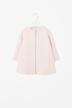 COS image 1 of Raw-edge wool coat in Powder Pink