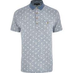 Light blue paisley print space dye polo shirt 20,00 €