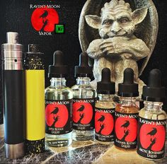 Our full line of Raven's Moon Liquid and our CAM mod. #vape #ejuice #eliquid