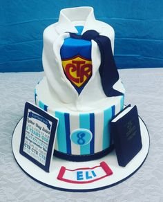 Baptism/superhero cake - Dana (Cut to the Cake) lds - mormon - ctr - book of mormon - blue & white