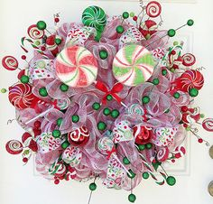 Christmas Candy Deco Mesh Wreath... Would go so beautifully with my Christmas tree!