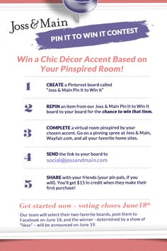 Joss & Main pinterest contest - woohoo! some awesome accents to PINspire your board and WINspire! yeeee