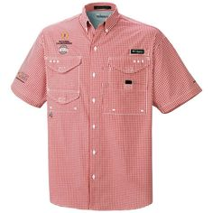 National Championship Red Checker Ohio State Buckeyes Men's Bonehead Button Down Shirt