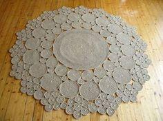 6 ft Crochet jute circle rug / 100% naturals materials by ViaRama