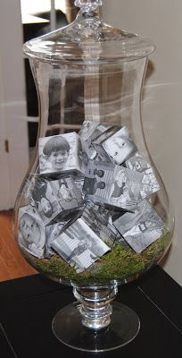 Love pictures but you don't have enough space to hang display them? You must love this idea from StyleBurb to put fun family photos into cubes. What a space saver! Plus it looks really unique!