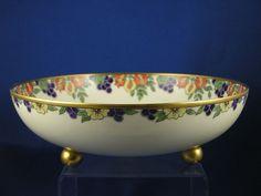 """Haviland Limoges Arts & Crafts Enameled Fruit Motif Footed Bowl (Signed """" M. Reeves""""/Dated 1912)"""