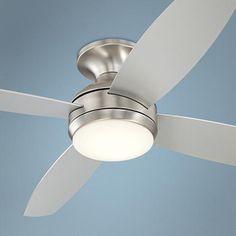"""52"""" Casa Elite™ Brushed Nickel LED Hugger Ceiling Fan"""