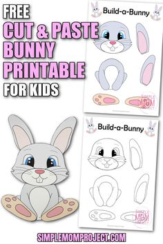 Hop into Spring with this fun & easy cut and paste bunny rabbit printable. What an ideal way for your toddlers, preschoolers, kindergartners & homeschoolers to letter the Letter B or Letter R while enjoying this cute craft activity for kids. The free printable templates for this simple cut and past bunny rabbit craft are ready for you now so grab yours and send us some pics of your beautiful bunny craft when you're done! Farm Animal Crafts, Animal Crafts For Kids, Crafts For Kids To Make, Craft Activities For Kids, Bunny Templates, Printable Templates, Printable Crafts, Free Printable, Rabbit Crafts