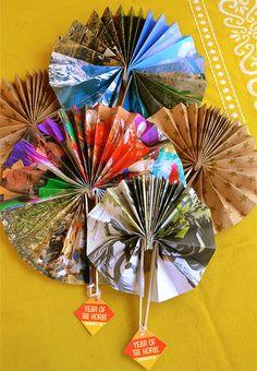 Handmade Paper Fans for Chinese New Year yearofthehorse diy craft gift handmade