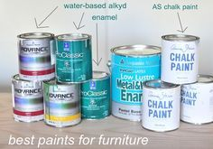 Best paints for furniture. Check out her blog -- several examples of refinished furniture, incl re-staining a table top & lots of painted furniture