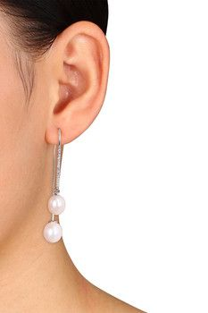 Sterling Silver White Topaz 8-8.5 mm & 9.5-10mm White Freshwater Pearl Loop Earrings