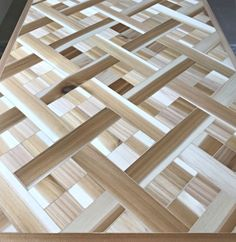 Tips and how to video for this beautiful DIY Wood Mosaic Table Top. These steps can be used to make this as geometric wood wall art too! Scrap Wood Art, Wood Wall Art, Easy Woodworking Projects, Fine Woodworking, Diy Furniture Plans, Furniture Makeover, Wood Mosaic, Diy Wood, Bowling Ball