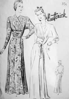 1940s Glamorous Negligee Hostess Gown Pattern BUTTERICK 1790 Draped Surplice Bodice Side Closing Robe Housecoat Wear As Evening Gown Bust 30 Vintage Sewing Pattern