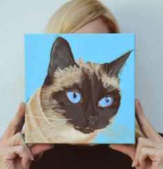 Siamese Cat Custom Painting by PopArtPetPortraits on Etsy, $145.00