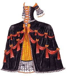 A black French court gown with a wide skirt, decorated with Halloween motifs and swags of orange fabric.