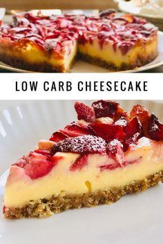 Sugar-free vanilla cheesecake with strawberries - Holla die Ko .- Zuckerfreier Vanille Cheesecake mit Erdbeeren – Holla die Kochfee Sugar-free vanilla cheesecake with strawberries – Holla the cooking fairy carb free bake - Cheesecake Vanille, Low Carb Cheesecake, Strawberry Cheesecake, Cheesecake Recipes, Dessert Recipes, Cheesecake Calories, Law Carb, Snacks Sains, Low Carb Desserts