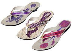 f542c018cb96f Indistar Womens PU Krocs Super Comfortable Flip Flop Set Of 3 Pair 8  PurplePurplePink  gt