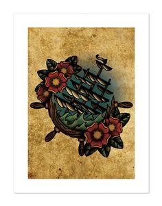 Sinking Ship Ship's Wheel NeoTraditional Tattoo Flash by BlackMast