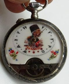 Rare-antique-Ottoman-Tughra-award-Hebdomas-8-Days-pocket-watch-Fancy-dial