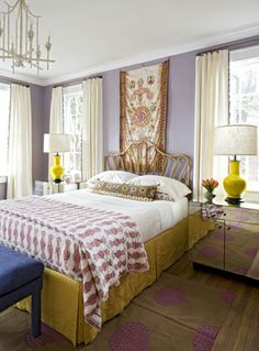 Love the boho glam bedroom....I have the chandy...could paint the walls lilac and get some yellow lamps and be halfway there with this look!  Mirrored tables would be a must.