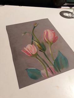 Soft-pastel tekening van bloemen (09-2017)