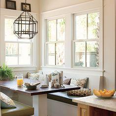 great visual comfort light, cute little dining nook