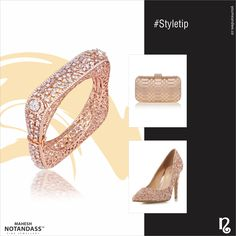 Pair this elegant rose gold square bangle with other bling accents like a gold clutch and shimmer stilettos, to offset a sold coloured gown for the perfect evening look. Diamond Bracelets, Gold Bangles, Diamond Jewelry, Bangle Bracelets, Gold Jewelry, Unique Jewelry, Ladies Bracelet, India Jewelry, Jewellery
