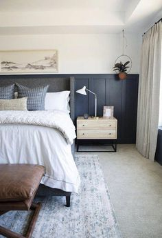 modern farmhouse bedroom design with navy board and batten on walls, farmhouse bedding and nightstand decor, farmhouse bedroom decor Modern Farmhouse Bedroom, Modern Bedroom, Farmhouse Decor, Classic Bedroom Decor, Navy Bedrooms, Suites, Bedroom Sets, Bedding Sets, Cozy Bedroom
