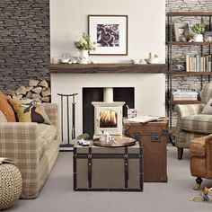 Living Room Ideas Log Burners rustic living room with woodburning stove | housetohome.co.uk