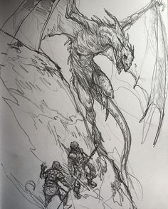 Karl kopinski dragon hunters sketching again! badassery in Creature Concept Art, Creature Design, Dragon Hunters, Dragon Sketch, Dragon Artwork, Cool Sketches, Fantasy Inspiration, Dragons, Fantasy Artwork