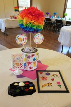 Melissa M's Birthday / Rainbow Art - Photo Gallery at Catch My Party 2nd Birthday Party Themes, Birthday Party Centerpieces, 13th Birthday Parties, Art Birthday, Unicorn Birthday, Birthday Ideas, Art Party Decorations, Aaliyah Birthday, Trunk Party