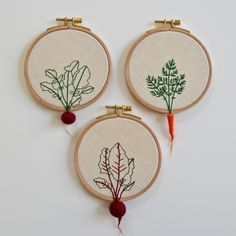 READY TO SHIP!Set of three hand made embroidery hoopsDesigned with felt carrot, beet, and radishThe diameter is about 4 inches.