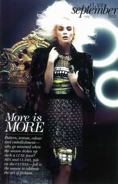 Courtesy: Flare, September 2012.  Feature: Vera Wang Fall 2012 RTW.  Photography: Chris Nicholls.  Look 29: Crystal mesh skirt.