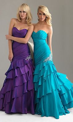 Purple and blue dresses.  Adorable!