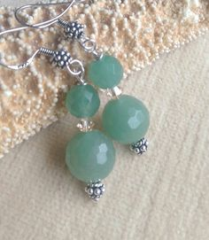 Aventurine earrings! Handcrafted with an abundance of Sterling Silver!  Twinkling Swarovski crystals! Check out this item in my Etsy shop https://www.etsy.com/listing/494034155/aventurine-dangle-earrings-handcrafted