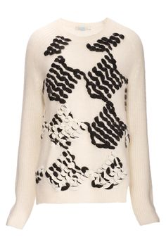 PINKO - BREST SWEATER - Angora blend knit sweater featuring rich, contrasting embroidery that lend the garment movement.
