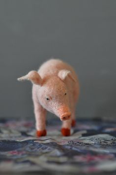 Needle felted wool pig!