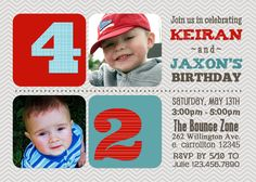 Double birthday party invitation sibling birthday or joint party joint twin photo birthday invitation boy girl or boy girl format 1800 via etsy if i ever have another ha stopboris Image collections