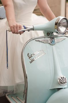 To be honest, I'm more excited about the dress than the Vespa. But the scooter is a pretty neat color. Motos Vespa, Vespa Scooters, Piaggio Vespa, Scooter Scooter, Pro Scooters, Lambretta Scooter, Mobility Scooters, Motor Scooters, Vintage Vespa