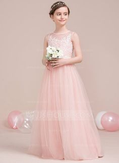 6bfdce1f6 A-Line/Princess Scoop Neck Floor-Length Tulle Junior Bridesmaid Dress With  Beading Sequins (009106846)