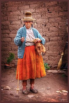 Spinning Wool. Peru