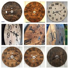 Urban Patina: Upcycled electrical spool into large (statement piece) wall clocks