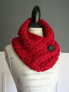 Crocheted Cowl Neck Scarf in Red with black button by TootsandToad