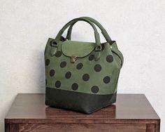 Leather BagHandmadePolka DotsTote BagShoulder by TaranehShahbazi  just love it