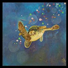The Endangered Babies Series: Green Sea Turtle: Melissa Leaym-Fernandez: Oil Painting - Artful Home