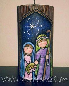 Handmade carved candle, by Yleana Candles. Christmas Rock, Christmas Nativity Scene, Christmas Signs, Christmas Time, Christmas Crafts, Christmas Decorations, Christmas Ornaments, Happy Birthday Jesus, Christian Christmas