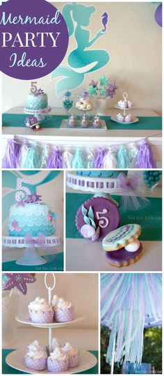 A mermaid birthday party in aqua, blue and purple with shells, tulle and a ribbon chandelier! Little Mermaid Birthday, Little Mermaid Parties, Mermaid Birthday Party Decorations Diy, Mermaid Theme Birthday, Party Fiesta, 6th Birthday Parties, Birthday Ideas, 7th Birthday, First Birthdays