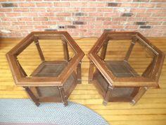 Hexagon Glass Top End Tables