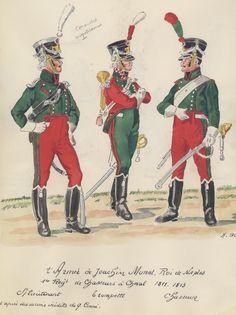 Regno Di Napoli (Joachin Murat) - 1° Reggimento Cacciatori a Cavallo, 1811-1813 - Tenente, Trombettiere, Cacciatore