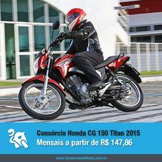 A Honda CG 150 Titan 2015 chega ao mercado nacional com o inédito sistema de freios CBS. Confira na matéria: https://www.consorciodemotos.com.br/noticias/honda-cg-150-titan-2015-a-partir-de-r-147-86-mensais?idcampanha=288&utm_source=Pinterest&utm_medium=Perfil&utm_campaign=redessociais
